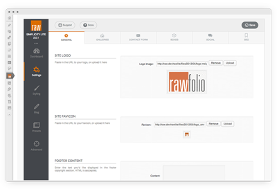 Rawfolio Theme Option Panel
